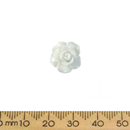 14mm White Resin Rose