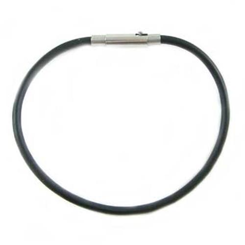 Black Rubber Bracelet Cord w Twist Clasp