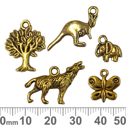 CLEARANCE Gold Metal Charm Mixed Pack - Animals