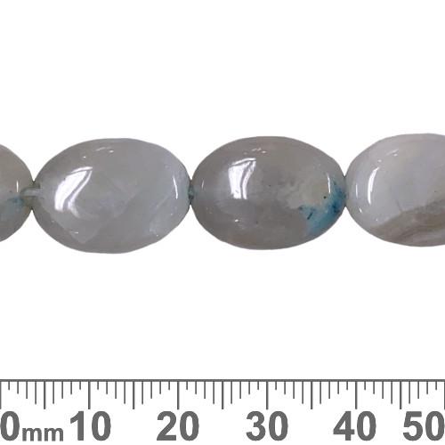 Aqua Dyed Agate 18mm Flat Oval Beads