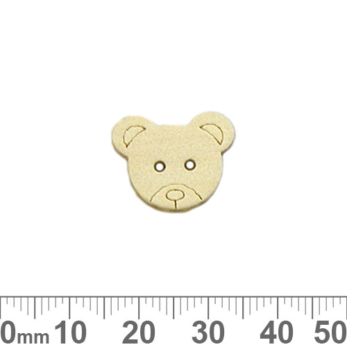Teddy Bear Head Honey Wooden Buttons