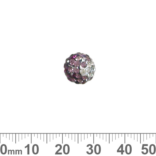 10mm Sparkly Transitional Rose/Purple Pave Bead