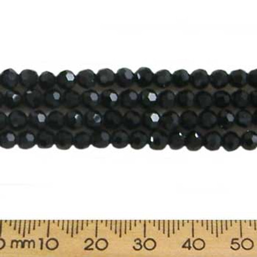 Jet Black 4mm Round Glass Crystal Strands