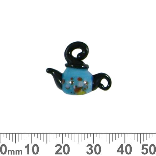 Blue Teapot Glass Bead Charm