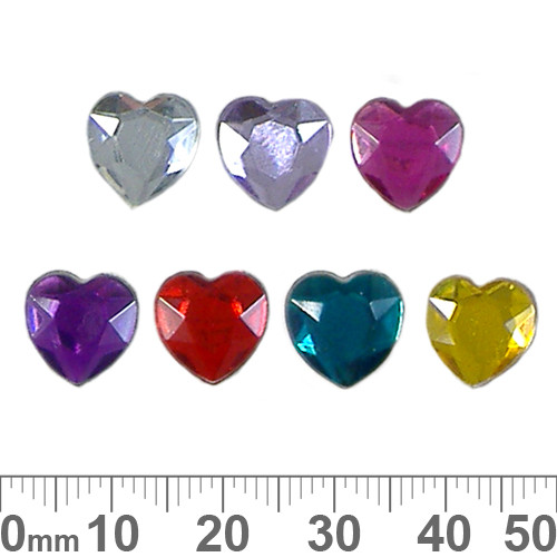 BULK 10mm Heart Faceted Plastic Diamantes
