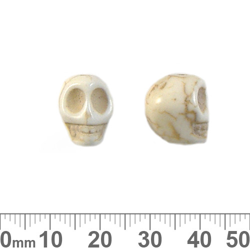Cream Howlite 14mm Skull Beads