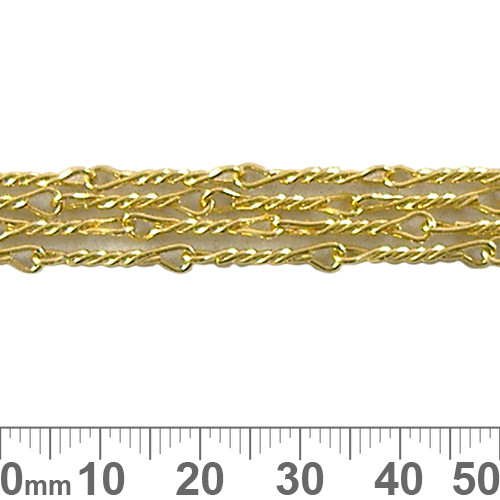 16mm Twisted Bar Chain - Bright Gold