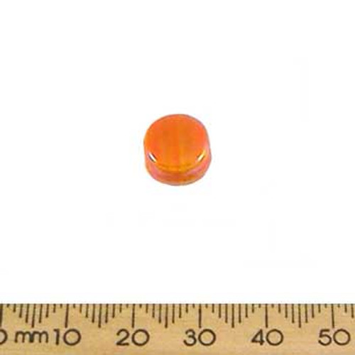 Opaque Orange AB Flat Disc Glass Beads