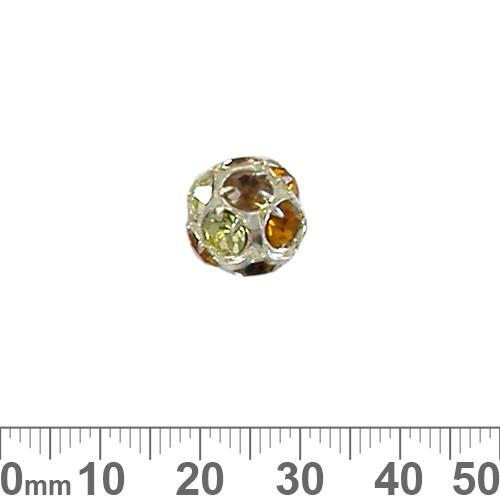 14mm Sparkly Silver Diamante Metal Ball (Autumn)