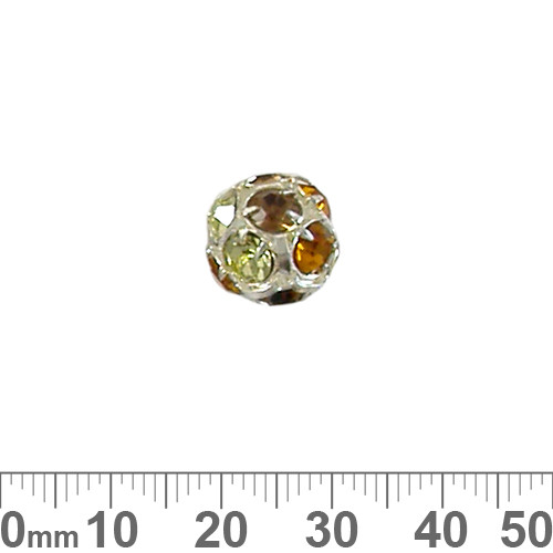 14mm Sparkly Silver Diamante Metal Ball (Autumn)