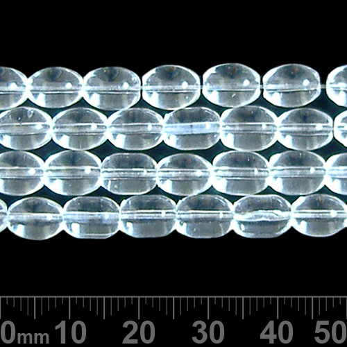 8mm Clear Oval Glass Bead Strands