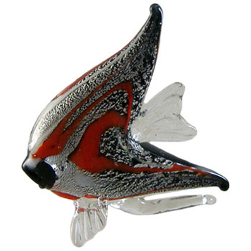 Black, Red & Silver Glass Angel Fish Ornament
