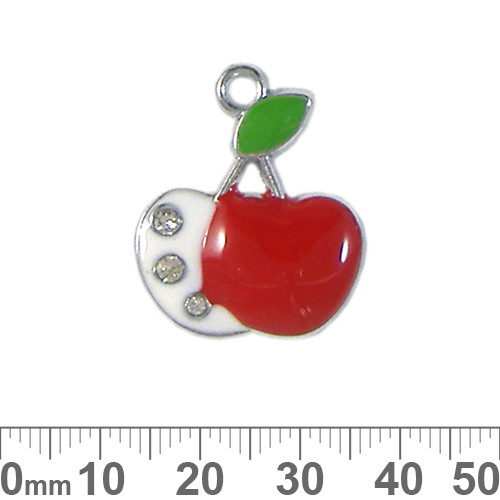 Large Cherry Enamel Metal Charm
