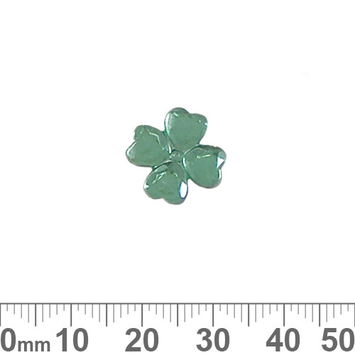 BULK 14mm Green 4 Leaf Clover Plastic Diamantes