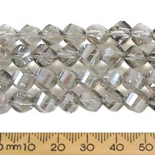 Smoky Quartz Grey 7mm Helix Glass Crystal Strands