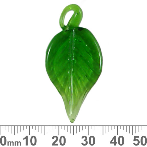 Green Leaf Glass Charm