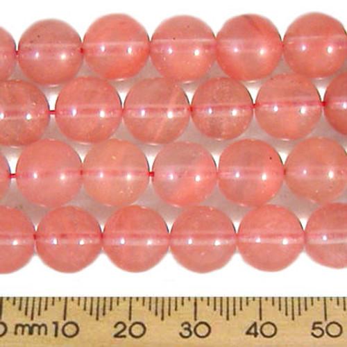 """Cherry """"Quartz"""" 10mm Round Beads"""