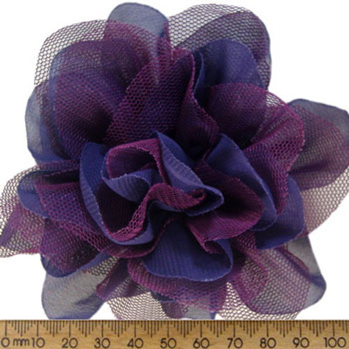 95mm Purple Fabric Flower