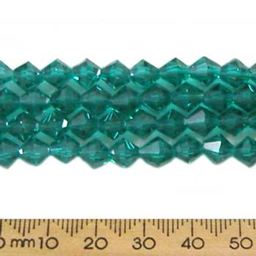 Teal Green 6mm Bicone Glass Crystal Strands