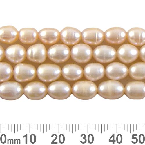 Medium Peach Rice Pearl Bead Strands