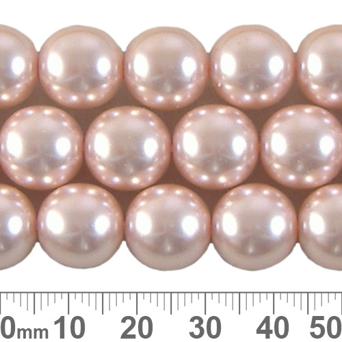 CLEARANCE 12mm Pale Pink Round Czech Glass Pearl Strands