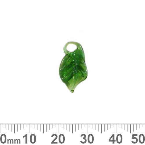 BULK Small Green Leaf Glass Charms