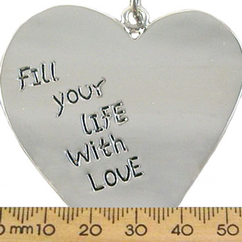 """Silver """"Fill Your Life With Love"""" Heart Metal Pendant"""