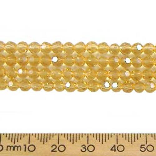 Light Amber 4mm Round Glass Crystal Strands