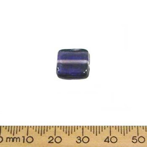 Purple Flat Square Glass Beads