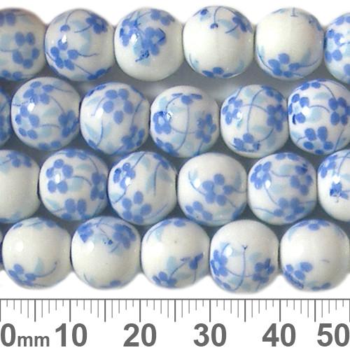 10mm Round Blue Sakura Ceramic Bead Strands