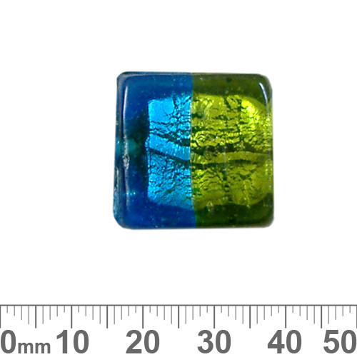 23mm Aqua/Green Silver Foil Flat Square Glass Bead