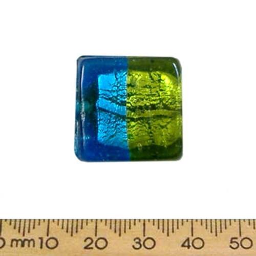 23mm Aqua/Green Silver Foil Flat Square Glass Bead