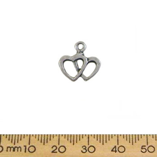 BULK 13mm Simple Double Heart Metal Charms
