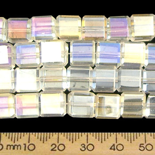 Clear AB 8mm Cube Glass Crystal Strands