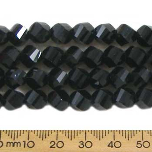 Jet Black 7mm Helix Glass Crystal Strands