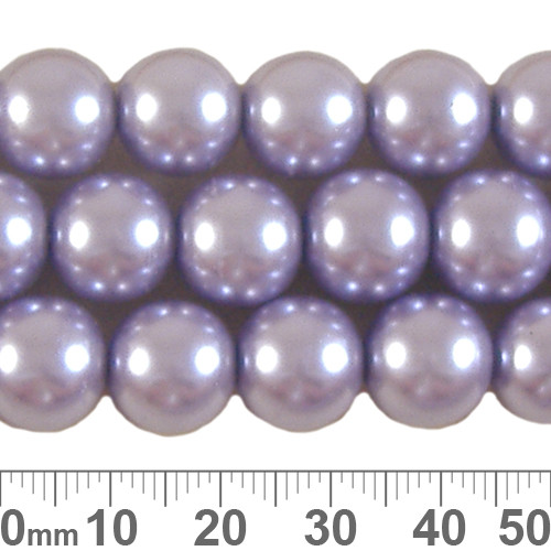 12mm Lavender Glass Pearl Strands