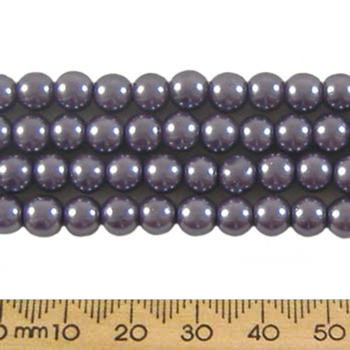 CLEARANCE 6mm Grey Purple Glass Pearl Strands