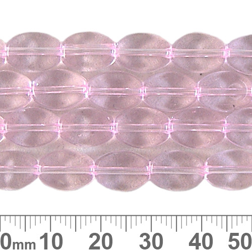 10mm Pink Small Flat Oval Glass Bead Strands