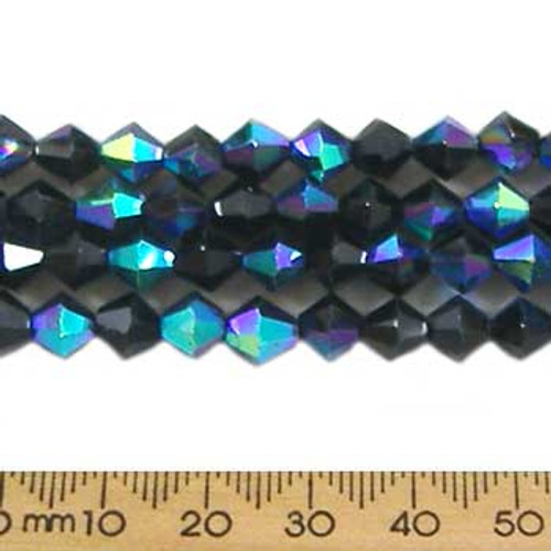 Jet Black AB 6mm Bicone Glass Crystal Strands