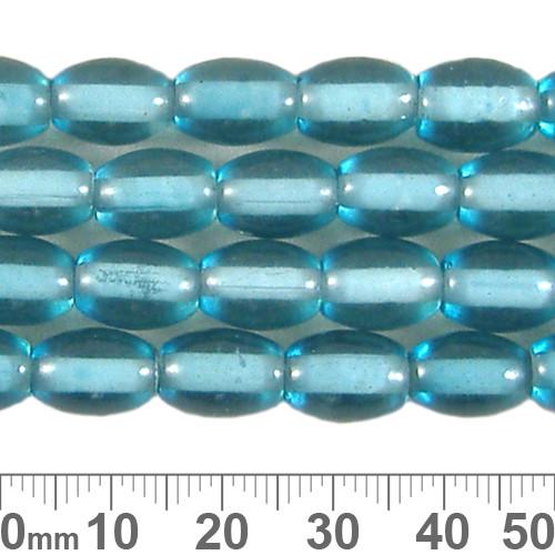 11mm Aqua Oval White Heart Bead Strands