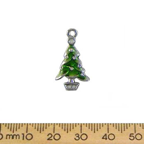 Swishy Green Christmas Tree Enamel Metal Charm