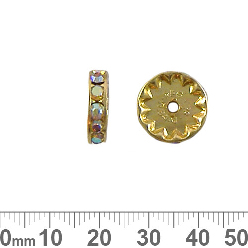 14mm Rondelle Diamante Spacers (Gold/AB)