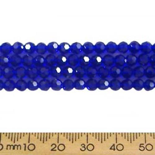 Dark Indigo Blue 4mm Round Glass Crystal Strands