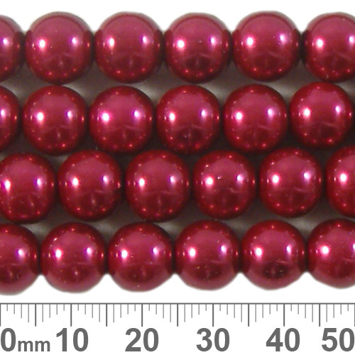 10mm Deep Red Glass Pearl Strands