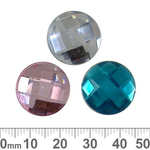 BULK 18mm Round Faceted Plastic Diamantes