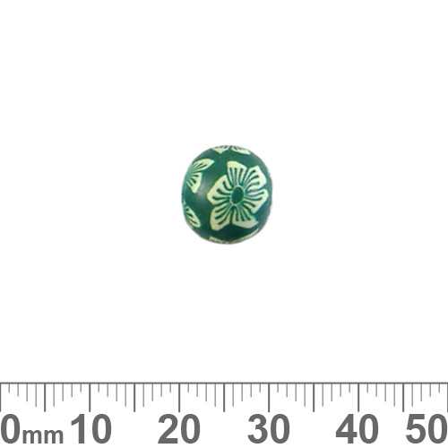 10mm Green Flower Round Clay Beads