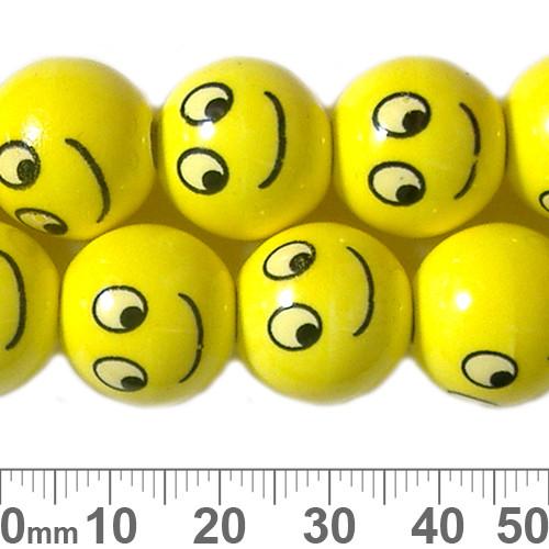 16mm Round Yellow Smily Ceramic Bead Strands