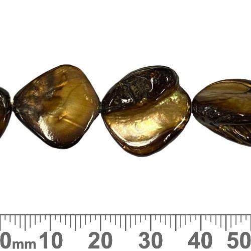 18mm Dark Brown Flat Nugget Shell Bead Strands