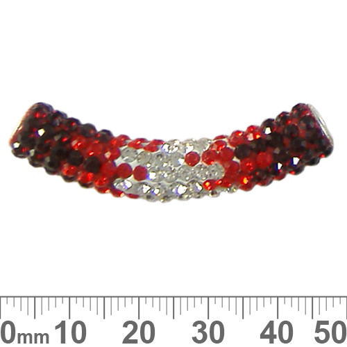 45mm Sparkly Transitional Red/Clear Pave Tube