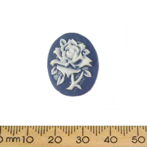 24mm Blue/White Rose Resin Oval Cameo